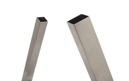 two stainless steel square tube, brushed finish, isolated over white