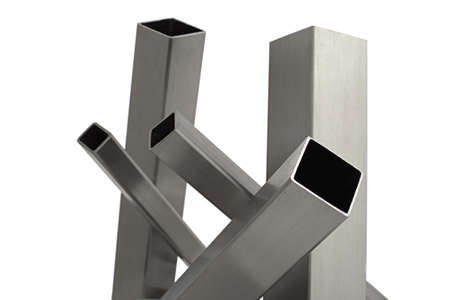 stainless steel: five brushed stainless steel tube, isolated over white