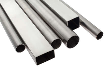 tubes: six brushed stainless steel pipes, isolated over white Stock Photo