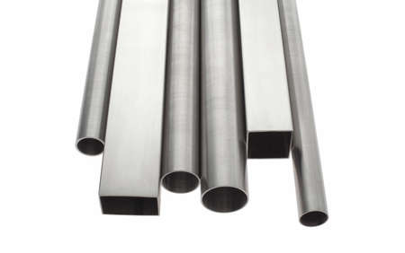 six stainless steel pipes, isolated over white