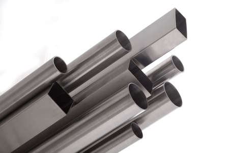 square and round  brushed steel pipes, isolated over white Stock Photo - 12196461