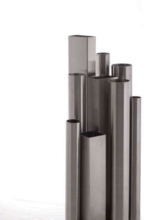 square and round  brushed steel pipes, isolated over white Stock Photo - 12196459