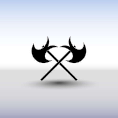 battle: Crossed battle axes icon. Battle axe icon with background and shadow. Cross battle axes for game design, clip art.