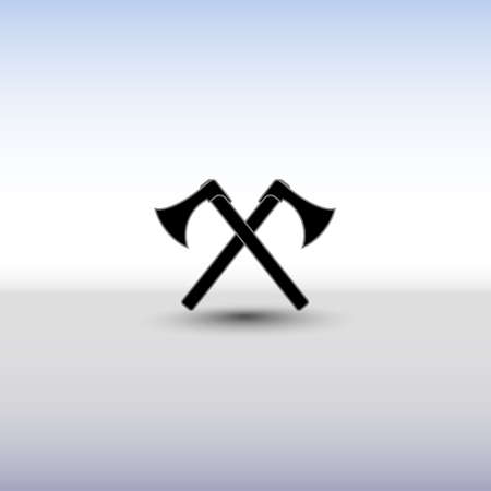 battle cross: Crossed battle axes icon. Battle axe icon with background and shadow. Cross battle axes for game design, clip art.