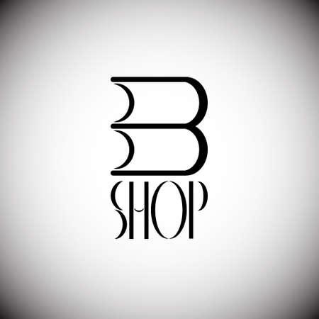 window display: book shop icon. Book shop emblem. Book shop display window element Illustration