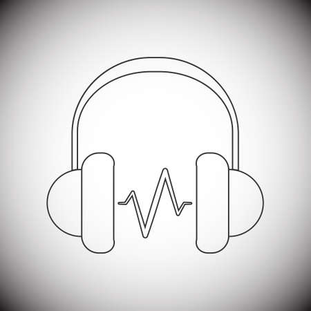 headphone: Modern style headphone line icon with grey gradient background
