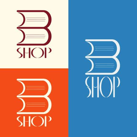 window display: book shop . Book shop emblem. Book shop display window element