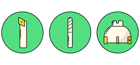 highspeed: icons of metalworking tools drawn in modern line stile Illustration