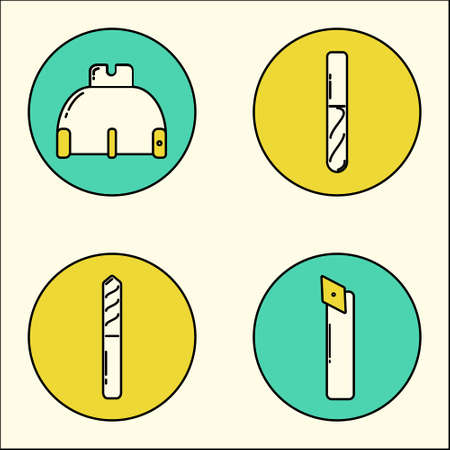 stile: icons of metalworking tools drawn in modern line stile Illustration