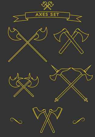 battle cross: Crossed battle axes icon set. battle axe. Battle axe icon with background and shadow. Cross battle axes set for game design, clip art, design, emblem.