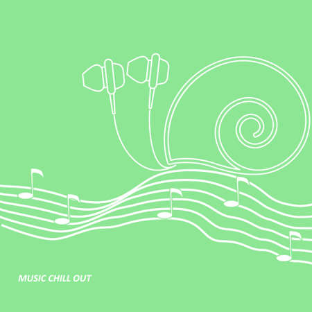 notation: headphone drawn looks like a snail creeping by the music notation staff with notes
