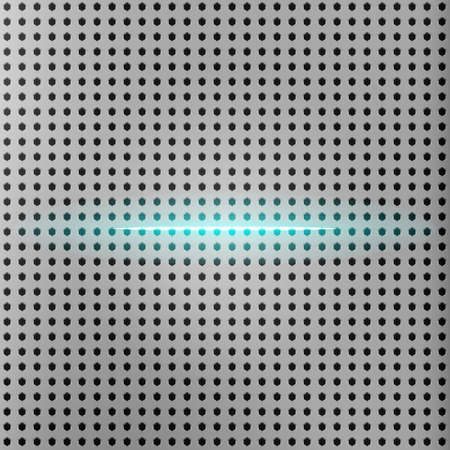 Vector beam of light with metallic grid background. Metallic hexagon perforated plate with chamfer. Abstract background.