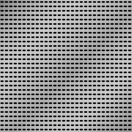 ironworks: Vector realistic metallic grid background. Perforated metallic sheet.