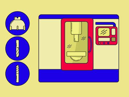 Metallverarbeitung CNC-Zentrum mit Werkzeugen in der modernen Linienstil gezeichnet.