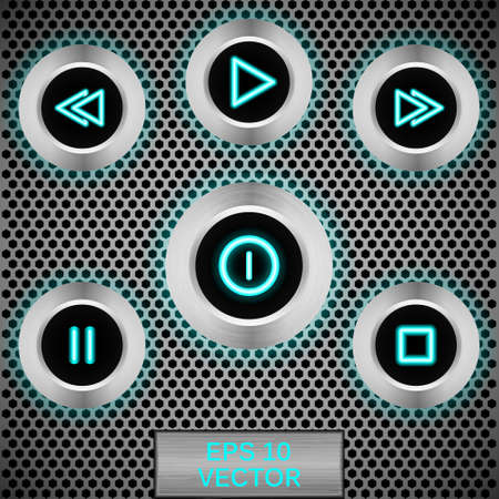 fader: Set of realistic vector led buttons for players Illustration