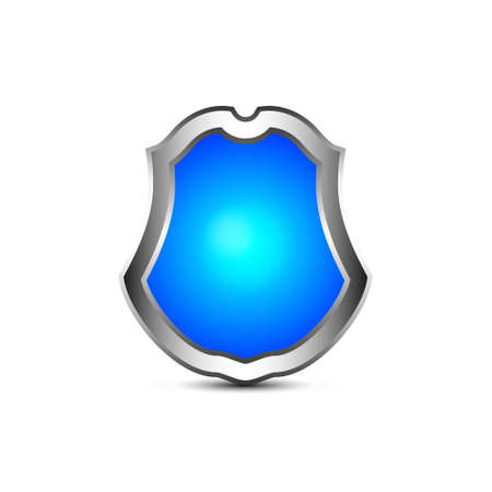 source: Vector realistic blue shield with  source of light inside