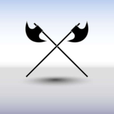 battle: Crossed battle axes vector icon. Battle axe icon with background and shadow. Cross battle axes for game design, clip art. Illustration