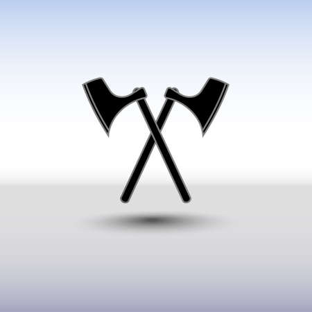 battle cross: Crossed battle axes vector icon. Battle axe icon with background and shadow. Cross battle axes for game design, clip art. Illustration