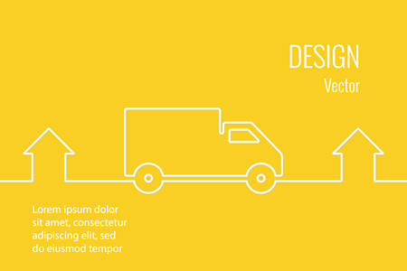 post office building: Delivery service line style drawn banner. Line drawn car and home. Shipment home to home. 24 hours.
