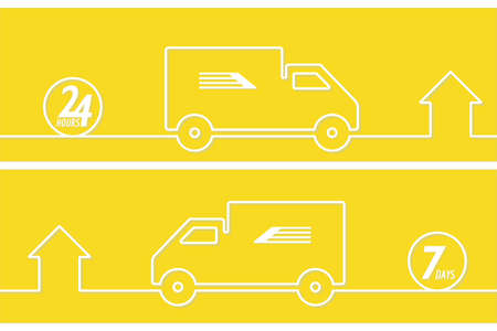 Delivery service line style drawn banner. Line drawn car and home. Shipment home to home. 24 hours.