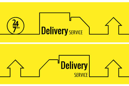servicing: Delivery service line style drawn banner. Line drawn car and home. Shipment home to home. 24 hours.