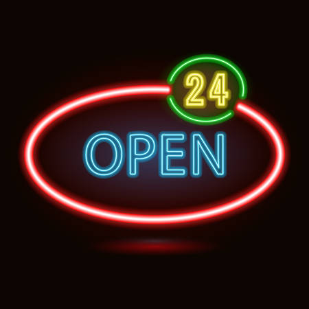 neon sign: neon sign with type  Open. Red and blue neon lights. 24 hours sign.