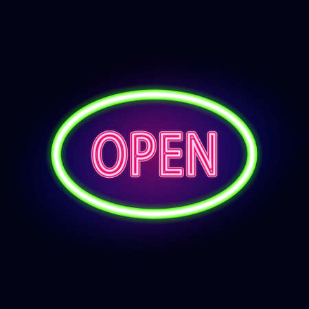 neon sign: neon sign with type  Open. Red and blue neon lights.
