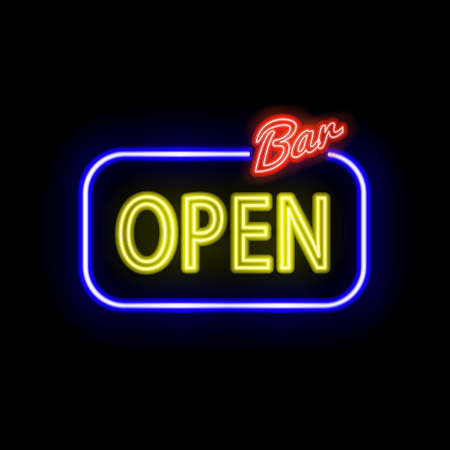 type bar: neon sign with type  Bar Open. Red and blue neon lights.