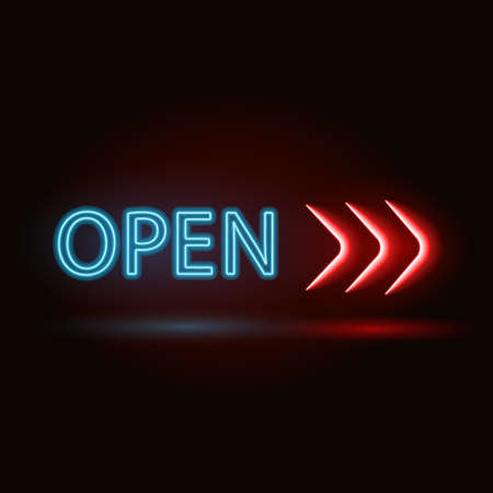 type bar: neon sign with type  Bar Open. Red and blue and yellow  neon lights.