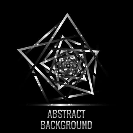 metallic: Abstract background . Metallic triangles around black sphere.  Tunnel made from metallic elements with randomness lights. Element for you business templates, banner, poster design.