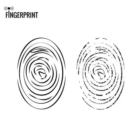 Vector black isolated fingerprint imitation on white background. Distressed fingerprint.