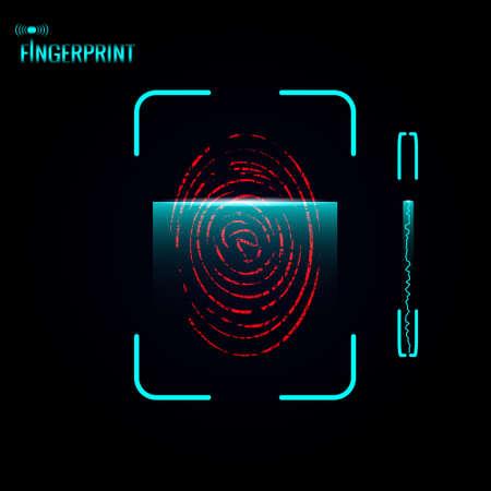 fingermark: Fingerprint scanning process. Vector illustration.