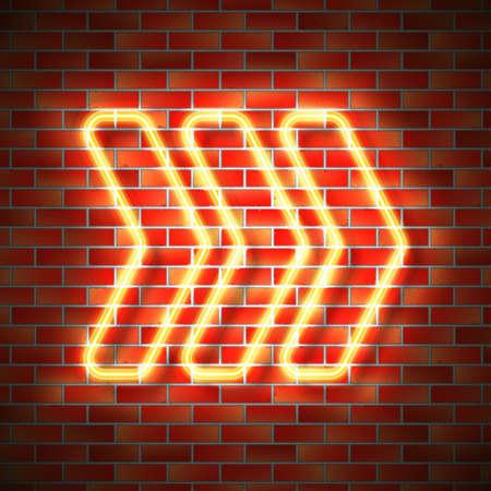 Realistic neon arrow sign hanging on brick wall. Vector illustration