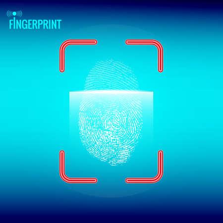 Finger print scanning process. Technology design. Vector illustration