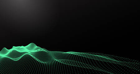 流れる粒子を持つ抽象デジタル風景。サイバーや技術の背景。ベクトルの図。 写真素材 - 69880974