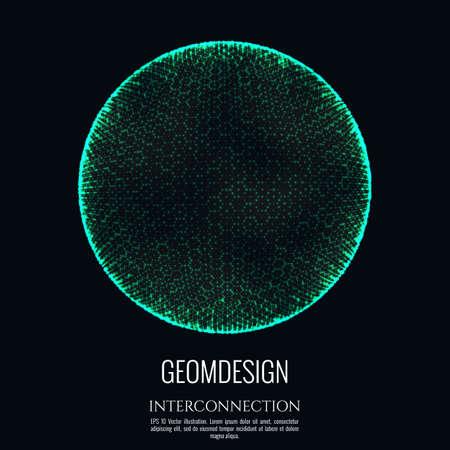 La sphère 3D est constituée de mailles et de points. Conception de concept de connexion. Globe interconnexion et communication. Illustration vectorielle