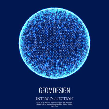 3D-Kugel besteht aus Netz und Punkt. Anschlusskonzept Design. Globale Verbindung und Kommunikation. Vektor-Illustration.