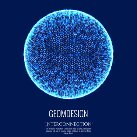 3D sphere consists of mesh and dot. Connection concept design. Globe interconnection and communication. Vector Illustration. Stock Photo