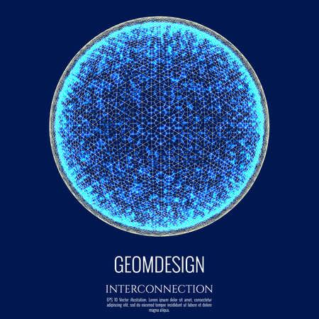 Esfera 3D consiste en malla y punto. Diseño de concepto de conexión. Globo de interconexión y comunicación. Ejemplo del vector