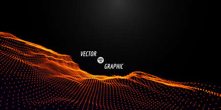 Abstract digital landscape with flowing particles. Cyber or technology background.Vector illustration.