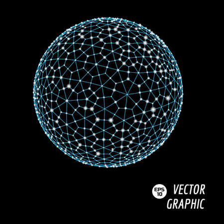3d sphere vector illustration consists of dots and mesh. Technological abstract background design element.