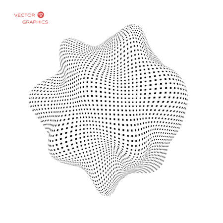 Deformed 3d sphere. Vector Illustration of Cyber or biological virus. Space sound waves.