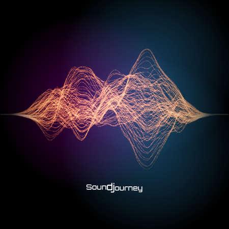 Colorful sound or signal illustration. Design element for music composition. Ilustração
