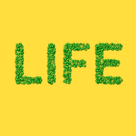 Word life made of particles or green life molecular substance