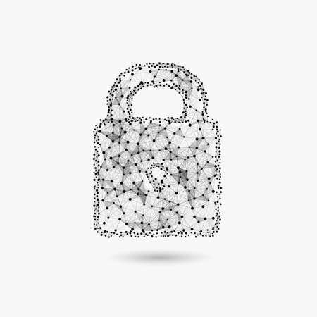 Concept cyber security illustration. Lock made of triangle particles and dots.