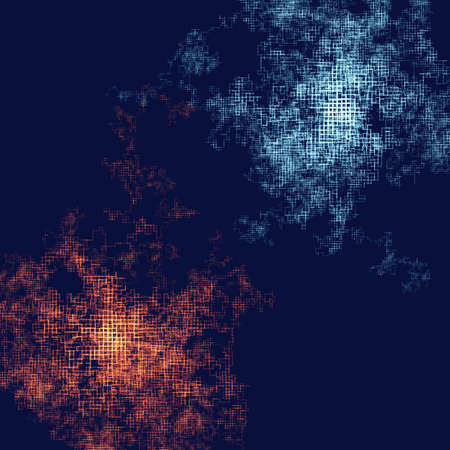 Abstract composition with particles following by rectangular way. Technology or scientific illustration.