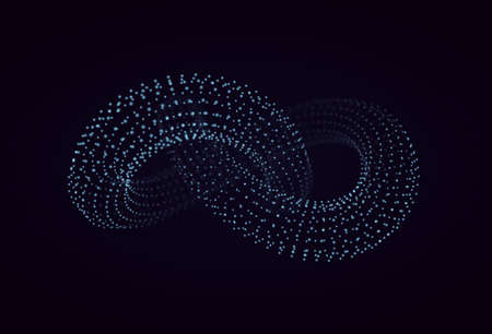 3D vector of torus knot. Abstract vector element with depth of field. Illustration for your science, digital, biological design.