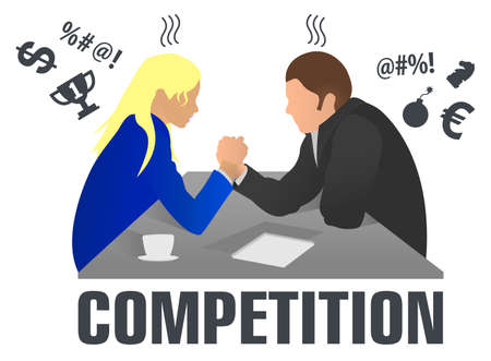 Business people and professional parity. Arm wrestling between businessman and businesswoman at work. Rivalry at work. Man and woman in arm wrestling gesture on working table during meeting. Logo. Иллюстрация