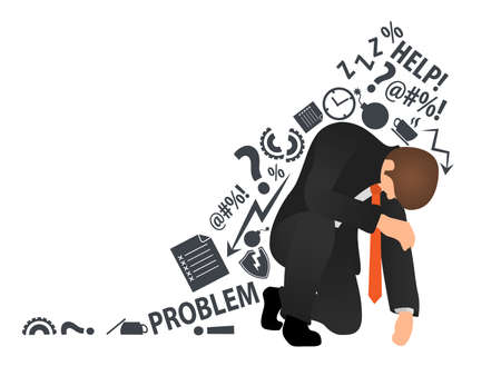 Overworked and tired businessman or office worker sitting on his knee and trying to get up. Flat style modern vector illustration. Concept business problem, stress, fail, deadline or overworked person 向量圖像