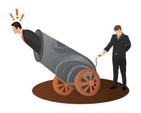 Concept of betrayal of business partner. Afraid man preparing to fly shot from weapon cannon gun. Crime betrayal accident business career competition concept. Ilustração
